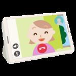 若い女性とのテレビ電話画面のイラスト