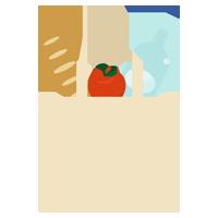 エコバッグと食品のイラスト1