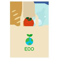 エコバッグと食品のイラスト3