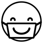 マスクで笑顔のアイコンイラスト(白黒)1