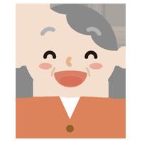 満面の笑みの高齢者の女性のイラスト