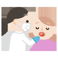 口で感染症検査をする若い女性のイラスト