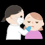 感染症検査をする若い女性のイラスト(鼻)