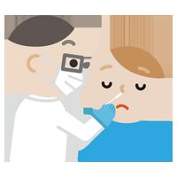 感染症検査をする若い男性のイラスト(鼻)