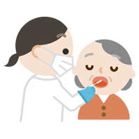 感染症検査をする高齢者の女性のイラスト(口)