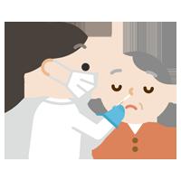 感染症検査をする高齢者の女性のイラスト(鼻)