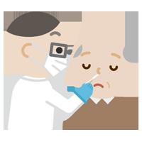 感染症検査をする高齢者の男性のイラスト(鼻)