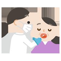 感染症検査をする中年の女性のイラスト(口)
