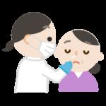 感染症検査をする中年の女性のイラスト(鼻)