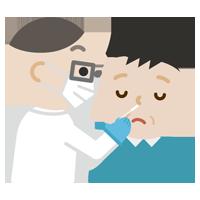 感染症検査をする中年の男性のイラスト(鼻)