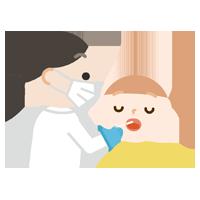 感染症検査をする女の子のイラスト(口)