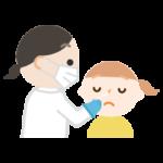 感染症検査をする女の子のイラスト(鼻)