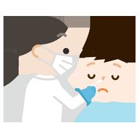 感染症検査をする男の子のイラスト(鼻)