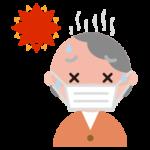 マスクをして熱中症になりそうな高齢者の女性のイラスト