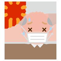 マスクをして熱中症になりそうな高齢者の男性のイラスト