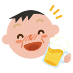 酔っ払いの中年の男性のイラスト
