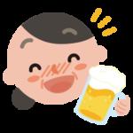 酔っ払いの中年の女性のイラスト