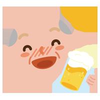 酔っ払いの高齢者の男性のイラスト