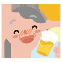 酔っ払いの高齢者の女性のイラスト