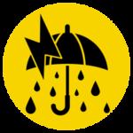 雷雨のアイコンイラスト(大雨・警告・丸)
