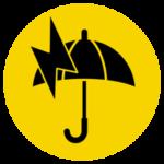 雷雨のアイコンイラスト(警告・丸)