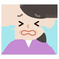 号泣する中年の女性のイラスト