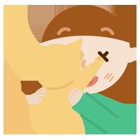 抱っこを嫌がる猫と若い女性のイラスト