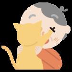 抱っこを嫌がる猫と高齢者の女性のイラスト