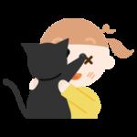 抱っこを嫌がる猫と女の子のイラスト