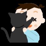 抱っこを嫌がる猫と男の子のイラスト