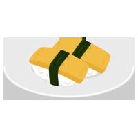 玉子のお寿司のイラスト(回転寿司)