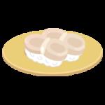 ホタテのお寿司のイラスト(回転寿司)