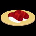マグロの赤身のお寿司のイラスト(回転寿司)