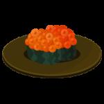 イクラのお寿司のイラスト(回転寿司)