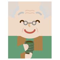 湯飲みでお茶を飲む高齢者の男性のイラスト