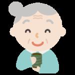 湯飲みでお茶を飲む高齢者の女男性のイラスト