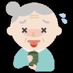 お茶で火傷する高齢者の女性のイラスト