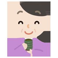 湯飲みでお茶を飲む中年の女性のイラスト
