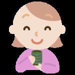 若い女性が湯飲みでお茶を飲むイラスト