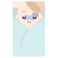 具合の悪い赤ちゃんのイラスト