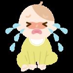 座って大泣きをする赤ちゃんのイラスト