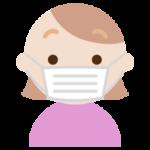 マスクをした若い女性の表情のイラスト(真顔)