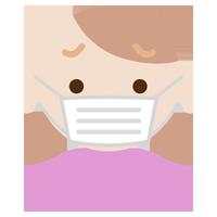 困った顔の、マスクをした若い女性のイラスト