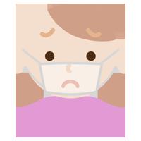 若い女性のマスクの下の表情のイラスト(困惑)