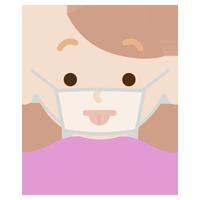 マスクの下で変顔をする若い女性のイラスト