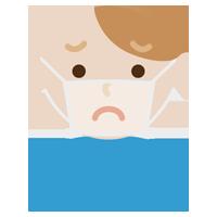 マスクの下の表情のイラスト(若い男性・困惑)