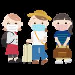 マスクをつけて旅行をする若い女性3人のイラスト
