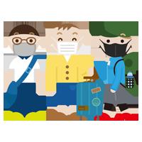 マスクをつけて旅行をする若い男性3人のイラスト