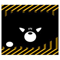 怒ったくまのアイコンイラスト(白黒)3