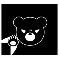 怒ったくまのアイコンイラスト(白黒)4
